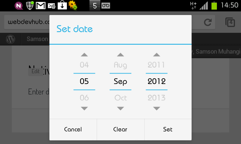 Chrome for Android datepicker